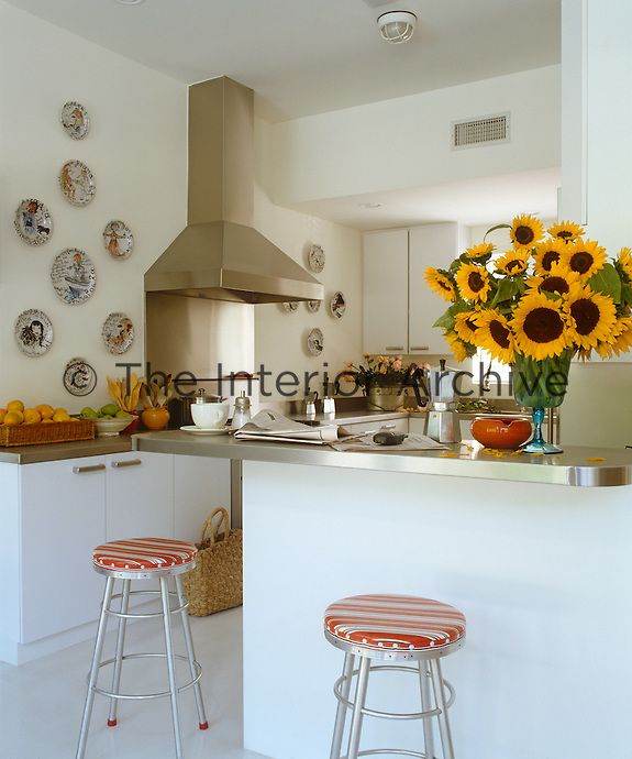 The crisp white colour scheme of this contemporary kitchen is the perfect backdrop for a collection of ceramic plates
