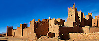 Stork nesting on the Glaoui Kasbah's of Tamedaght in the Ounilla valley set surrounded by the hammada (stoney) desert in the foothills of the Altas mountains, Tamedaght, Morroco.