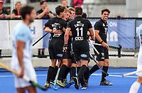 Sam Lane goal during the Pro League Hockey match between the Blacksticks men and the Argentina, Nga Punawai, Christchurch, New Zealand, Friday 28 February 2020. Photo: Simon Watts/www.bwmedia.co.nz