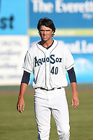 Lukas Schiraldi #40 of the Everett AquaSox warms up before pitching against the Tri-City Dust Devils at Everett Memorial Stadium on July 29, 2014 in Everett, Washington. Everett defeated Tri-City, 7-5. (Larry Goren/Four Seam Images)