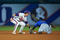 Kennie Taylor (15) of the Duke Blue Devils slides into second base against Logan Davidson (8) of the Clemson Tigers in Game Three of the 2017 ACC Baseball Championship at Louisville Slugger Field on May 23, 2017 in Louisville, Kentucky. The Blue Devils defeated the Tigers 6-3. (Brian Westerholt/Four Seam Images)