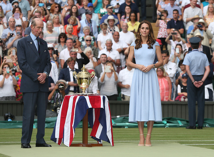 Catherine, Duchess of Cambridge awaits to present the trophies<br /> <br /> Photographer Rob Newell/CameraSport<br /> <br /> Wimbledon Lawn Tennis Championships - Day 13 - Sunday 14th July 2019 -  All England Lawn Tennis and Croquet Club - Wimbledon - London - England<br /> <br /> World Copyright © 2019 CameraSport. All rights reserved. 43 Linden Ave. Countesthorpe. Leicester. England. LE8 5PG - Tel: +44 (0) 116 277 4147 - admin@camerasport.com - www.camerasport.com