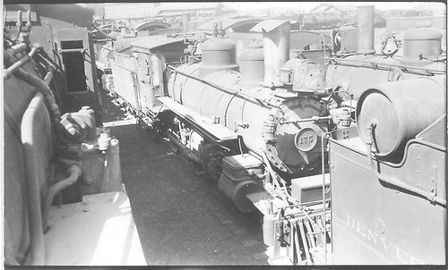 Engine #175 stored at Alamosa, CO.<br /> D&amp;RGW  Alamosa, CO  Taken by Perry, Otto C. - 4/14/1935
