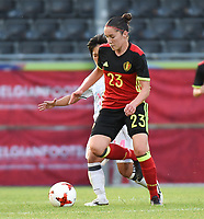 20170613 - LEUVEN ,  BELGIUM : Belgian Elien Van Wynendaele  pictured during the female soccer game between the Belgian Red Flames and Japan , a friendly game before the European Championship in The Netherlands 2017  , Tuesday 13 th Juin 2017 at Stadion Den Dreef  in Leuven , Belgium. PHOTO SPORTPIX.BE | DIRK VUYLSTEKE