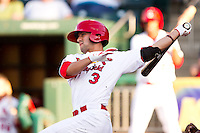 Jose Garcia (3) of the Springfield Cardinals follows through his swing during a game against the Northwest Arkansas Naturals at Hammons Field on June 14, 2012 in Springfield, Missouri. (David Welker/Four Seam Images)