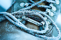 Ice crystals form on a pair of Simms Fishing Products wading boots while fishing in western Montana.