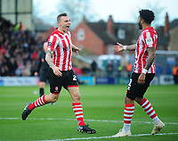 Lincoln City's Harry Anderson, left, celebrates scoring the opening goal with team-mate Bruno Andrade<br /> <br /> Photographer Andrew Vaughan/CameraSport<br /> <br /> Emirates FA Cup First Round - Lincoln City v Northampton Town - Saturday 10th November 2018 - Sincil Bank - Lincoln<br />  <br /> World Copyright &copy; 2018 CameraSport. All rights reserved. 43 Linden Ave. Countesthorpe. Leicester. England. LE8 5PG - Tel: +44 (0) 116 277 4147 - admin@camerasport.com - www.camerasport.com
