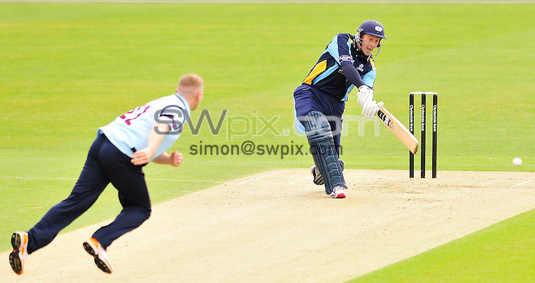 PICTURE BY SIMON WILKINSON/SWPIX.COM...Cricket - CB40 - Yorkshire v Kent - Headingley, Leeds, England - 15/04/11...Yorkshire's Andre Gale hits 4 off Ashley Shaw.