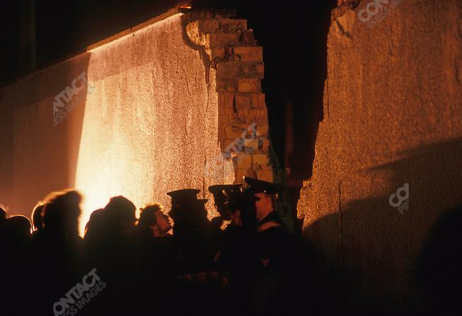Opening of the Berlin Wall, East Berlin, Germany, November 1989.