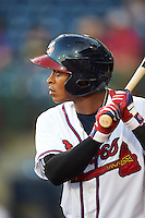 Mississippi Braves outfielder Mallex Smith (1) on deck during a game against the Pensacola Blue Wahoos on May 27, 2015 at Trustmark Park in Pearl, Mississippi.  Pensacola defeated Mississippi 7-5 in fourteen innings.  (Mike Janes/Four Seam Images)