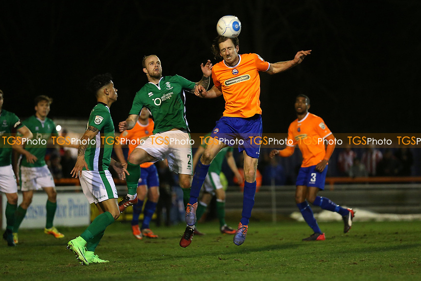 Jack Midson of Braintree Town rises with Bradley Wood of Lincoln City during Braintree Town vs Lincoln City, Vanarama National League Football at the IronmongeryDirect Stadium on 7th March 2017