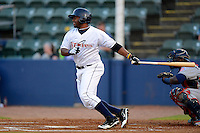 Huntsville Stars first baseman Jason Rogers #7 during a game against the Tennessee Smokies on April 16, 2013 at Joe W Davis Municipal Stadium in Huntsville, Alabama.  Tennessee defeated Huntsville 4-3.  (Mike Janes/Four Seam Images)