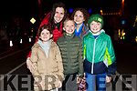 Theresa, Holly, Leah and Dylan Gallaway and Darragh Duggan from Ballyheigue at the firework display in Denny St on New Years Eve .