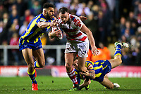 Picture by Alex Whitehead/SWpix.com - 16/03/2017 - Rugby League - Betfred Super League - Leigh Centurions v Warrington Wolves - Leigh Sports Village, Leigh, England - Leigh's Sam Hopkins is tackled by Warrington's Ryan Atkins and Daryl Clark.