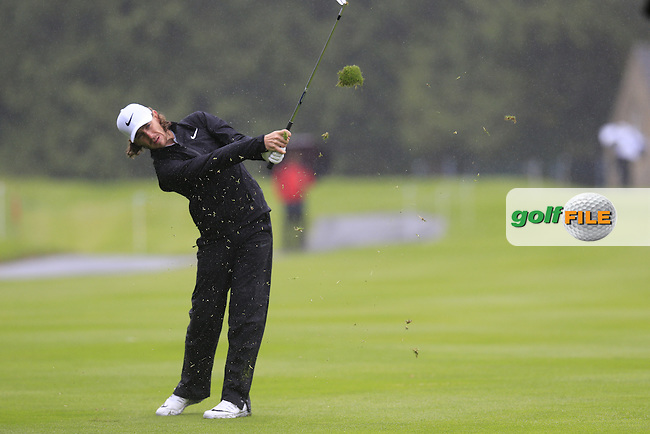 Tommy Fleetwood (ENG) plays his 2nd shot on the 17th hole during Thursday's Round 1 of the 2016 Dubai Duty Free Irish Open hosted by Rory Foundation held at the K Club, Straffan, Co.Kildare, Ireland. 19th May 2016.<br /> Picture: Eoin Clarke | Golffile<br /> <br /> <br /> All photos usage must carry mandatory copyright credit (&copy; Golffile | Eoin Clarke)