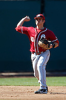 Garrett Carey #10 of the Oklahoma Sooners during a baseball game against the UCLA Bruins at Jackie Robinson Stadium on March 9, 2013 in Los Angeles, California. (Larry Goren/Four Seam Images)