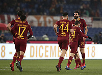 Football, Serie A: AS Roma - Genoa, Olympic stadium, Rome, December 16, 2018. <br /> Roma&rsquo;s Federico Fazio (r) celebrates after scoring with his teammates during the Italian Serie A football match between Roma and Genoa at Rome's Olympic stadium, on December 16, 2018.<br /> UPDATE IMAGES PRESS/Isabella Bonotto