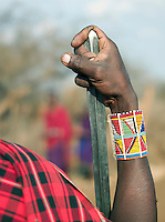 Maasai tribesman with hand on spear, Tipilit Village, near Amboseli National Park, Kenya