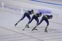 SCHAATSEN: HEERENVEEN: 11-12--2015, IJsstadion Thialf, ISU World Cup, Ploegen- achtervolging, Jorrit Bergsma, Jan Blokhuijsen, Sven Kramer, ©foto Martin de Jong