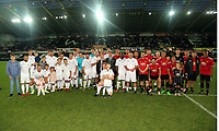 Swansea Legends and Manchester United Legends teams during the Swansea Legends v Manchester United Legends at The Liberty Stadium, Swansea, Wales, UK. Wednesday 09 August 2017