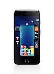 Apple iPhone 7 Plus with Tetris, classic video game on its display isolated on white background with clipping path
