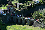 The peloton in action during Stage 15 of the 100th edition of the Giro d'Italia 2017, running 199km from Valdengo to Bergamo, Italy. 21st May 2017.<br /> Picture: LaPresse/Fabio Ferrari | Cyclefile<br /> <br /> <br /> All photos usage must carry mandatory copyright credit (&copy; Cyclefile | LaPresse/Fabio Ferrari)