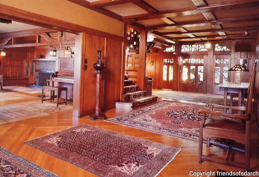 Greene & Greene:  Gamble House, Pasadena CA. , 1908.  Interior of Entrance. (Photo Nov. 1988)