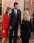 Prince Felipe of Spain and Princess Letizia of Spain with the winner Jose Caballero Bonald and his wife Josefa Ramis during reception at Cervantes Prize for Literature 2013.April 22 ,2013. (ALTERPHOTOS/Acero/Pool)