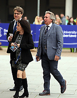 Pictured: Jeff Towns (R) arrives at Swansea University Bay Campus. Saturday 14 October 2017<br /> Re: Hilary Clinton, the former US secretary of state and 2016 American presidential candidate will be presented with an honorary doctorate during a ceremony at Swansea University's Bay Campus in Wales, UK, to recognise her commitment to promoting the rights of families and children around the world.<br /> Mrs Clinton's great grandparents were from south Wales.