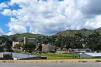 Center of Mbabane, the capital and largest city of Swaziland. The Kingdom of Swaziland in Southern Africa, bordered by South Africa and Mozambique.