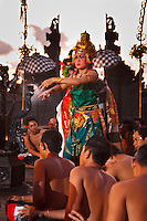 Balinese Dancers in elaborate costumes perform Kecak and Fire Dance at sunset, at Uluwatu Temple in Bali, Indonesia.  No Releases