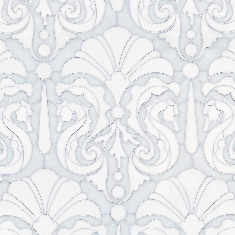 Caroushell®, a waterjet jewel glass mosaic, shown in Opal and Moonstone, is part of the Kiddo collection by Cean Irminger for New Ravenna.