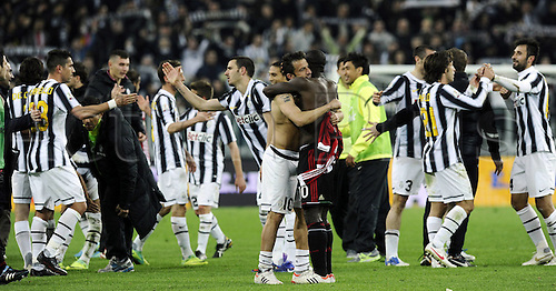 20.03.2012. Turin, Italy.  Coppa Italia versus Juventus Milan. Phtoo shows the team from Juventus celebrating. The game ended in a 2-2 draw with Juventus going through to the next round 4-3 on aggregate.