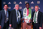 16 January 2014: Damion Lowe (JAM), with team owner Adrian Hanauer, head coach Sigi Schmid, and technical director Chris Henderson (right), was selected with the eighth overall pick by the Seattle Sounders FC. The 2014 Major League Soccer SuperDraft was held at the NSCAA Annual Convention in the Pennsylvania Convention Center in Philadelphia, Pennsylvania.