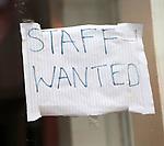 Hand written staff wanted sign in window, Blaenau Ffestiniog, Gwynedd, north Wales, UK