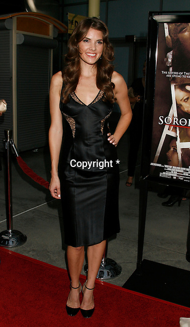 "HOLLYWOOD, CA. - September 03: Nicole Moore arrives at the Los Angeles premiere of ""Sorority Row"" at the ArcLight Hollywood theater on September 3, 2009 in Hollywood, California."