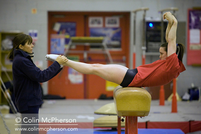 Champion British gymnast Beth Tweddle, pictured during training at a gym in Toxteth, Liverpool. Beth was training for the forthcoming world championships and the 2008 Olympic games in Beijing.