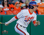 Second baseman Steve Wilkerson (17) of the Clemson Tigers in a game against the William & Mary Tribe on Opening Day, Friday, February 15, 2013, at Doug Kingsmore Stadium in Clemson, South Carolina. Clemson won, 2-0. (Tom Priddy/Four Seam Images)