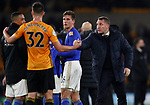 Brendan Rogers manager of Leicester City shakes hands with Leander Dendoncker of Wolverhampton Wanderers during the Premier League match at Molineux, Wolverhampton. Picture date: 14th February 2020. Picture credit should read: Darren Staples/Sportimage