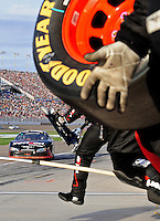 Feb. 28, 2009; Las Vegas, NV, USA; NASCAR Nationwide Series driver Justin Allgaier pits during the Sam's Town 300 at Las Vegas Motor Speedway. Mandatory Credit: Mark J. Rebilas-