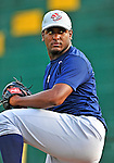 19 July 2010: Staten Island Yankees pitcher Wilton Rodriguez warms up prior to a game against the Vermont Lake Monsters at Centennial Field in Burlington, Vermont. The game was rained out. Mandatory Credit: Ed Wolfstein Photo