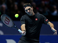 Tennis - ATP Finals - The O2, London, Britain - November 12, 2019   Switzerland's Roger Federer in action during his group stage match  <br /> London 12/11/2019 O2 Arena <br /> Nitto ATP Finals 2019 <br /> Photo Melanie Jeusette Photonews / Panoramic / Insidefoto <br /> ITALY ONLY