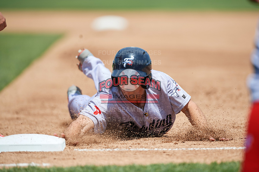Reading Fightin Phils second baseman Scott Kingery (25) dives back to first base on a pickoff attempt during a game against the Erie SeaWolves on May 18, 2017 at UPMC Park in Erie, Pennsylvania.  Reading defeated Erie 8-3.  (Mike Janes/Four Seam Images)