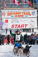 Eric Rogers team leaves the start line during the restart day of Iditarod 2009 in Willow, Alaska