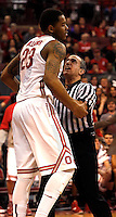 Ohio State Buckeyes center Amir Williams (23) is held back by a referee during a skirmish in the second half of their game against the Northwestern Wildcats at the Value City Arena in Columbus, Ohio on February 19, 2014. (Columbus Dispatch photo by Brooke LaValley)