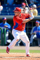 Philadelphia Phillies third baseman Cody Asche #72 during a Spring Training game against the Dominican Republic at Bright House Field on March 5, 2013 in Clearwater, Florida.  The Dominican defeated Philadelphia 15-2.  (Mike Janes/Four Seam Images)