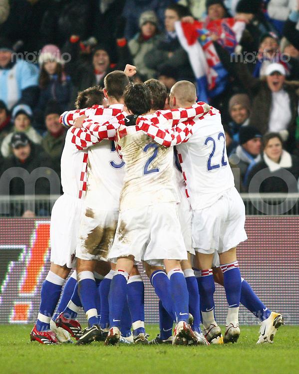 Fussball International Testspiel Kroatien - Argentinien Die Kroaten jubeln oeber das 3:2