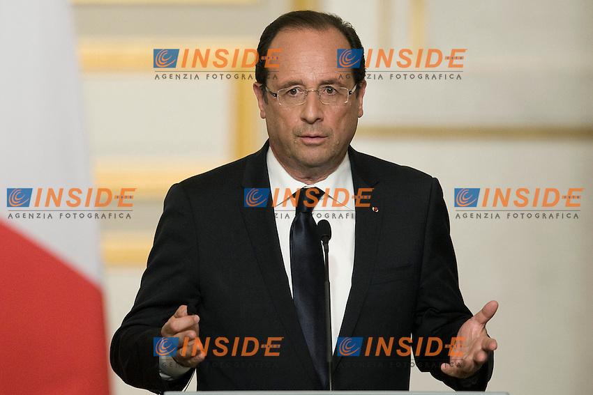 Francois Hollande .Parigi 01/06/2012 Conferenza stampa del Presidente francese e del Presidente russo, dopo la cena di lavoro  all'Eliseo..Foto Insidefoto /JB Autissier / Panoramic.ITALY ONLY.