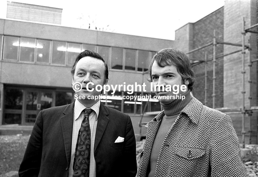 Don Anderson, N Ireland Officer,  UK Independent Broadcasting Authority, right, pictured with David Hannon, managing director, Downtown Radio, Newtownard, photographed 23rd December 1975 in front of the new radio station's premises which were nearing completion. The station offically started broadcasting on 16th March 1976. 197512230788a.<br />