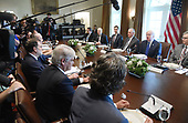 United States President Donald J. Trump (R) attends a working luncheon  with Prime Minister Mariano Rajoy of Spain in the Cabinet Room of the White House September 26, 2017 in Washington, DC. <br /> Credit: Olivier Douliery / Pool via CNP
